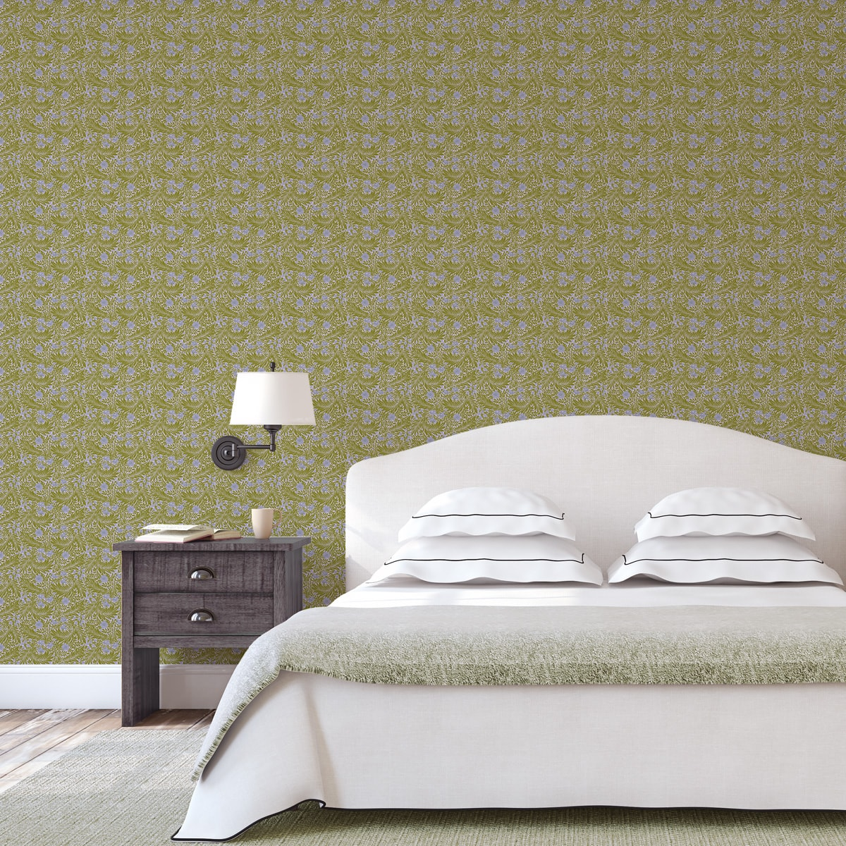 Schlafzimmer tapezieren in mittelblau: Retro Jugendstil Tapete