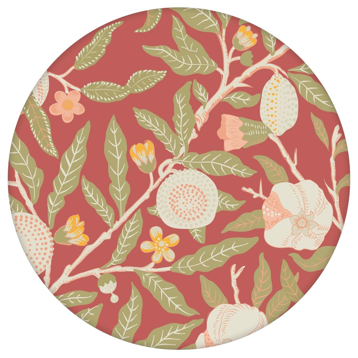 """Retro Jugendstil Tapete """"Granatapfel Baum"""" nach William Morris, rote Vlies-Tapete Blumentapete für Schlafzimmer"""