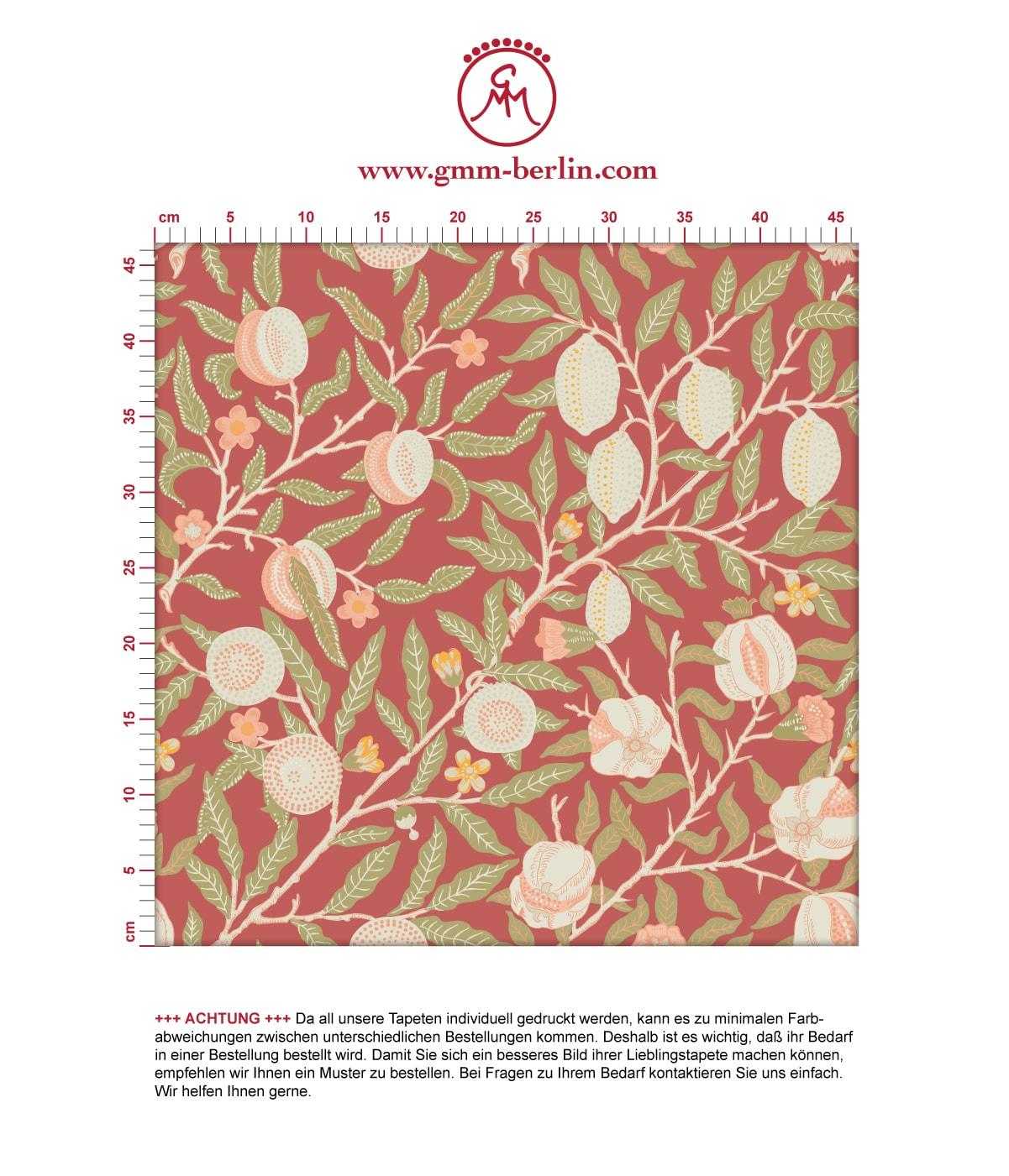 Aus dem GMM-BERLIN.com Sortiment: Schöne Tapeten in der Farbe: rot. Schöne Wandgestaltung: Retro Jugendstil Tapete Granatapfel Baum nach #baum #blumen #granatapfel #jugendstil #natur #retro #vintage #williammorris für individuelles Interiordesign