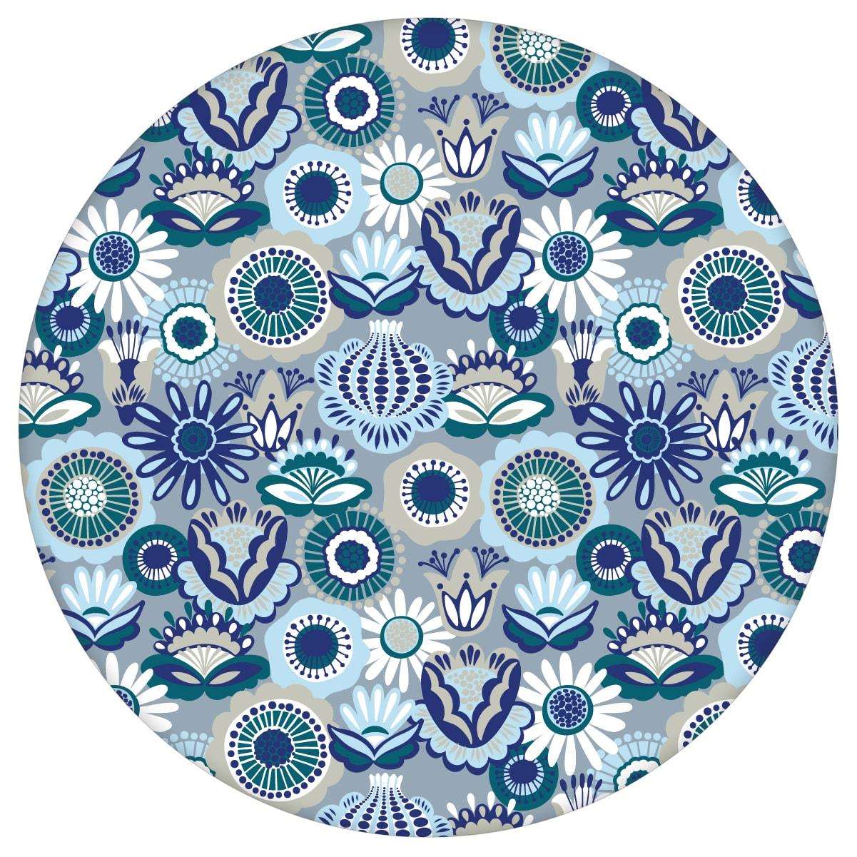 """Blüten Tapete """"Bauerngarten"""" im Folklore Stil, blaue Vlies-Tapete für Schlafzimmeraus dem GMM-BERLIN.com Sortiment: blaue Tapete zur Raumgestaltung: #00130 #Bauerngarten #blau #Blaue Tapeten #blueten #blumen #Blumentapete #Folklore #garten #schlafzimmer für individuelles Interiordesign"""