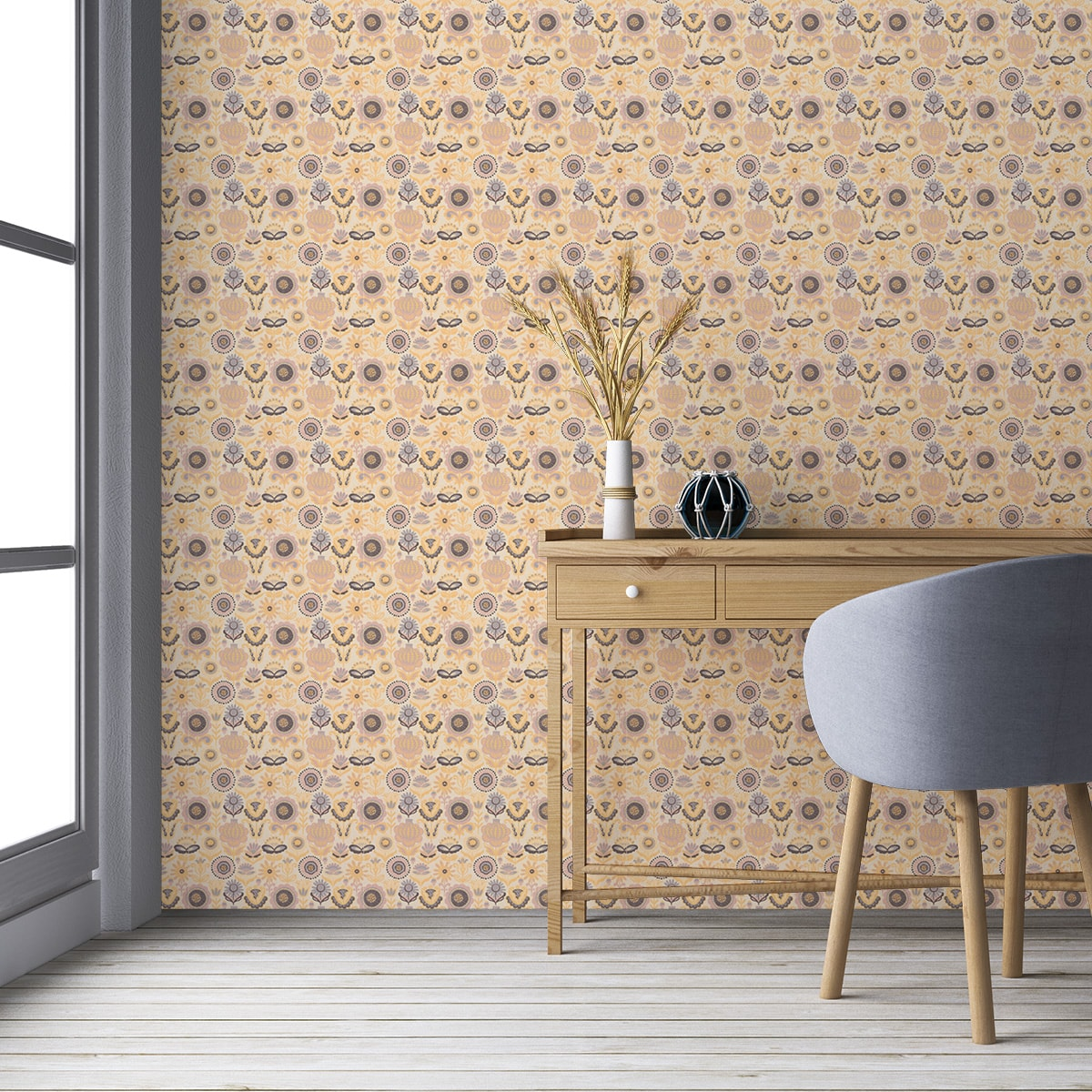 """Küchentapete gelb: Folklore Blüten Tapet """"Fiore della nostalgia"""", gelbe Vlies Nostalgietapete Blumentapete für Küche"""