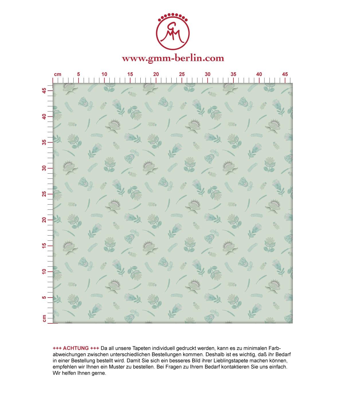 Folklore Streublümchen Tapete mit kleinen Blüten, mint grüne Vlies-Tapete Blumen, exotische Wanddeko für Schlafzimmer. Aus dem GMM-BERLIN.com Sortiment: Schöne Tapeten in der Farbe: grün