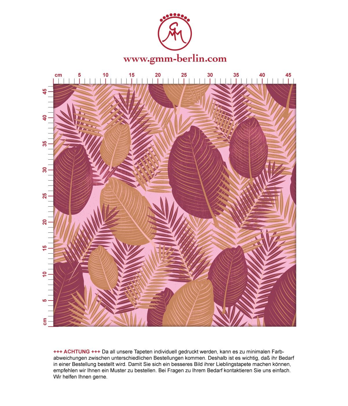 Rote Dschungel Tapete mit großen Blättern, rote Vlies Tapete, üppige, moderne Wanddeko für Flur, Büro. Aus dem GMM-BERLIN.com Sortiment: Schöne Tapeten in der Farbe: rot
