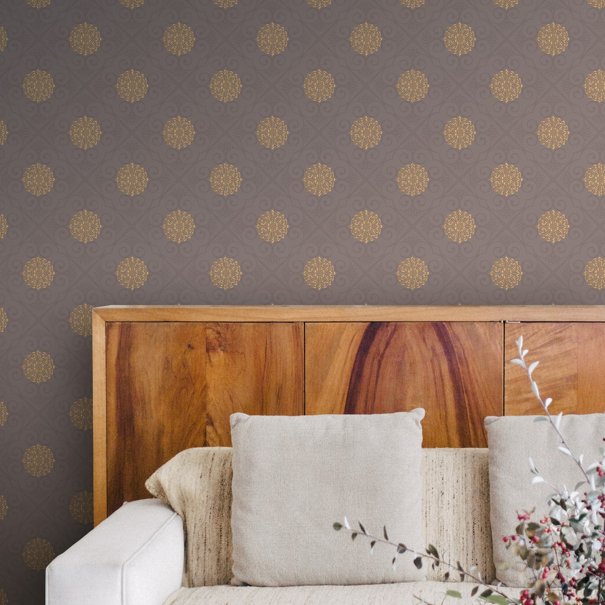 Tapete Wohnzimmer grau: Elegante oriental Tapete