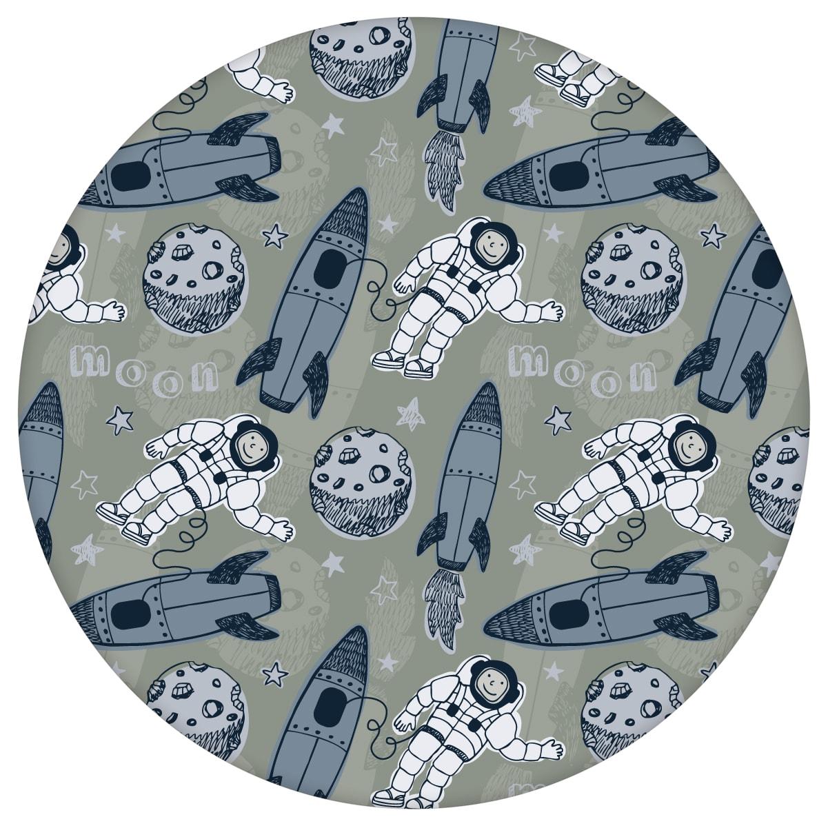 """Weltraum Kinderzimmer Tapete """"Rocket Moon"""", oliv graue Vlies-Tapete , Space Kindertapete für Spielzimmer"""