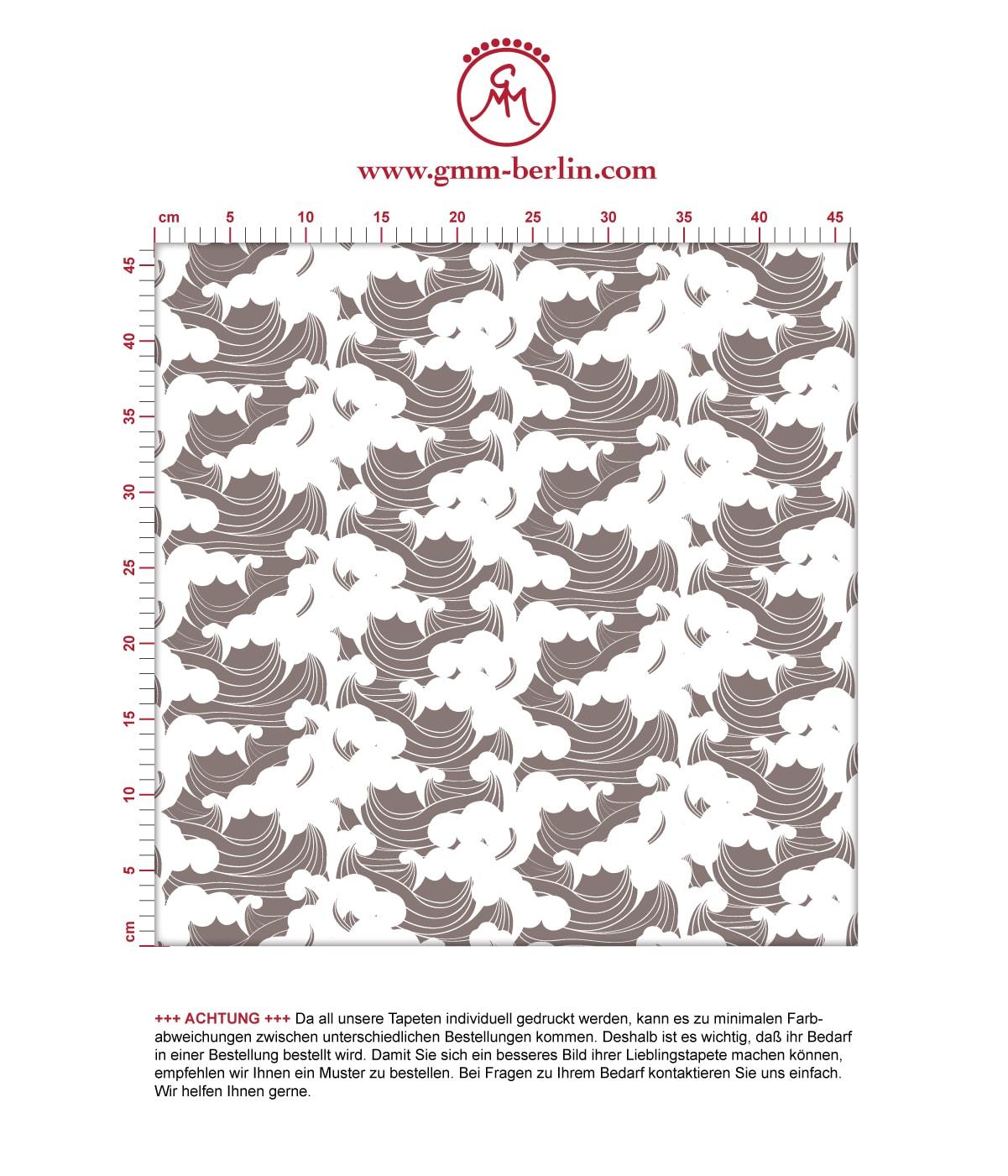 """Asiatische Wellen Tapete """"Meerschaum"""", braune Vlies Tapete grafische Wanddeko für Flur, Büro. Aus dem GMM-BERLIN.com Sortiment: Schöne Tapeten in der Farbe: dunkel braun"""