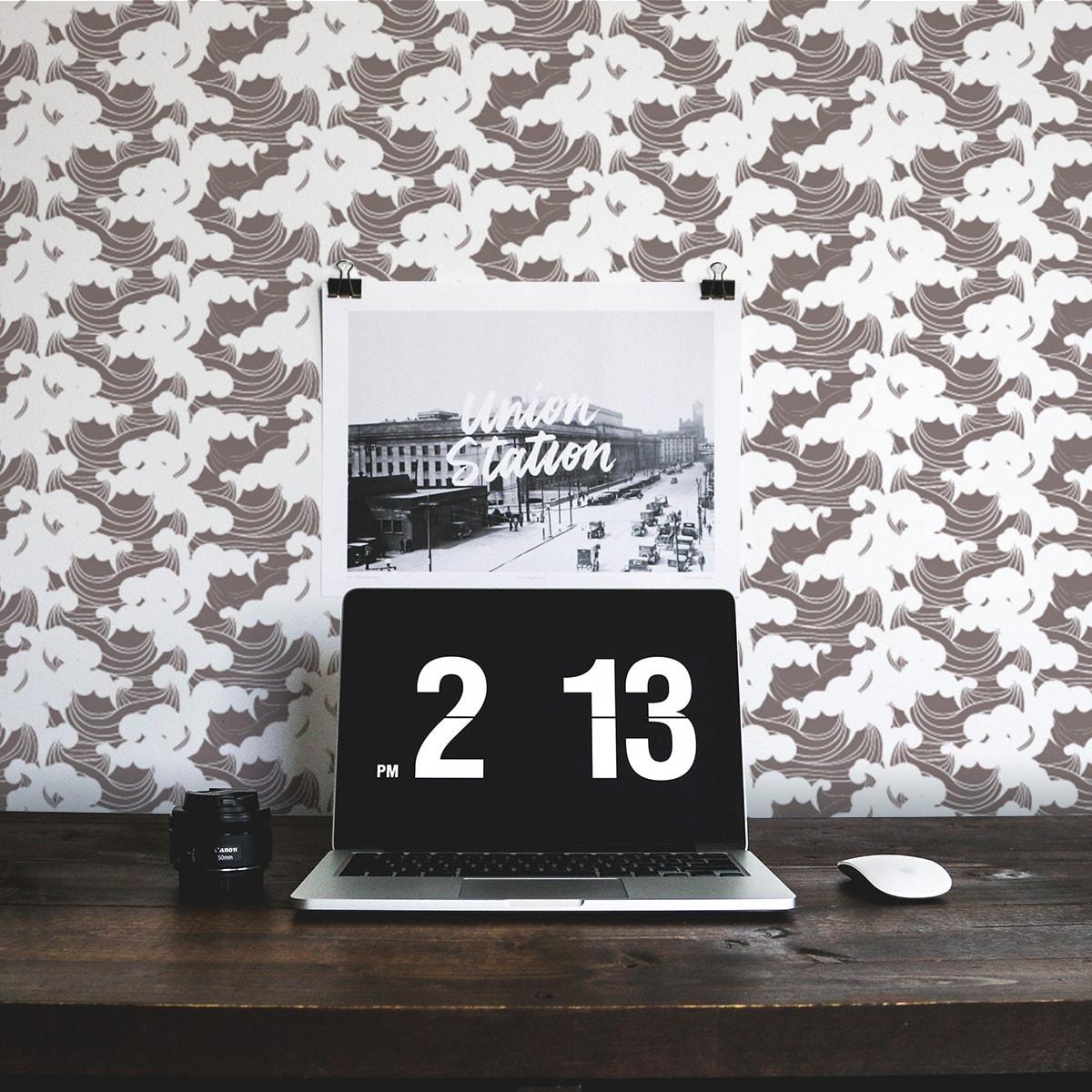 """Tapete für Büroräume dunkel braun: Asiatische Wellen Tapete """"Meerschaum"""", braune Vlies Tapete grafische Wanddeko für Flur, Büro"""