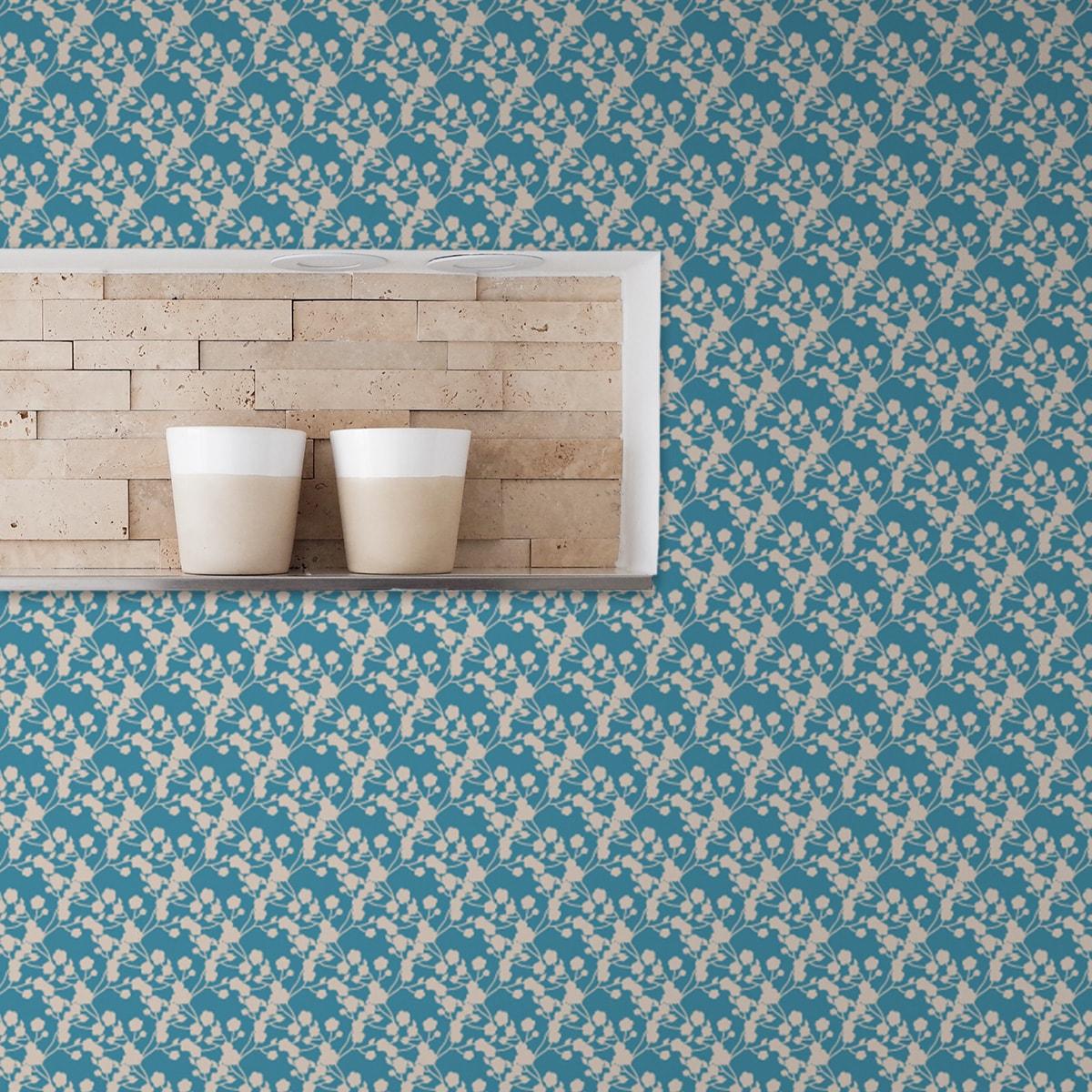 Schlafzimmer tapezieren in mittelblau: Blaue Tapete