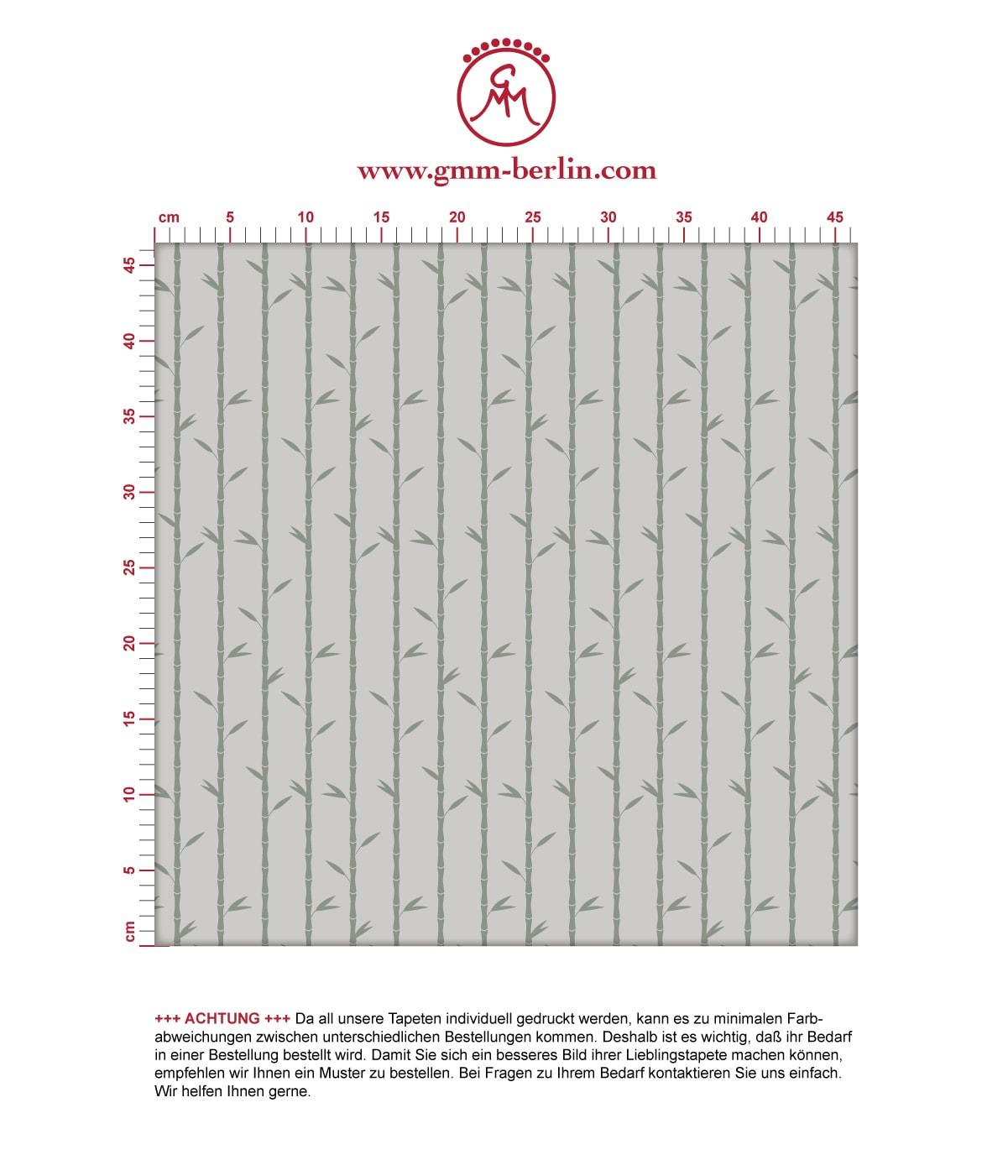 """Grau olive Tapete """"Bamboo Garden"""" mit grafischem Bambus, Vlies-Tapete für Wohnzimmer 2"""