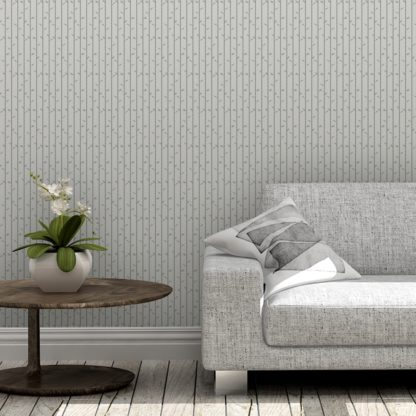 """Tapete Wohnzimmer schwarz: Grau olive Tapete """"Bamboo Garden"""" mit grafischem Bambus, Vlies-Tapete für Wohnzimmer"""
