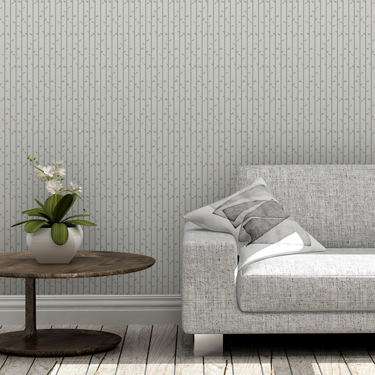 """Grau olive Tapete """"Bamboo Garden"""" mit grafischem Bambus, Vlies-Tapete für Wohnzimmer 3"""