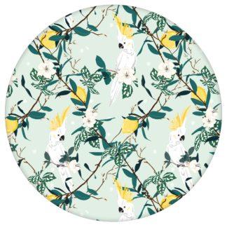 """""""Tropical Summer"""" – exotische Tapete mit Zitronen & Kakadus, hell grüne Vlies Tapete Tiere, schöne Blumentapete für Küche"""