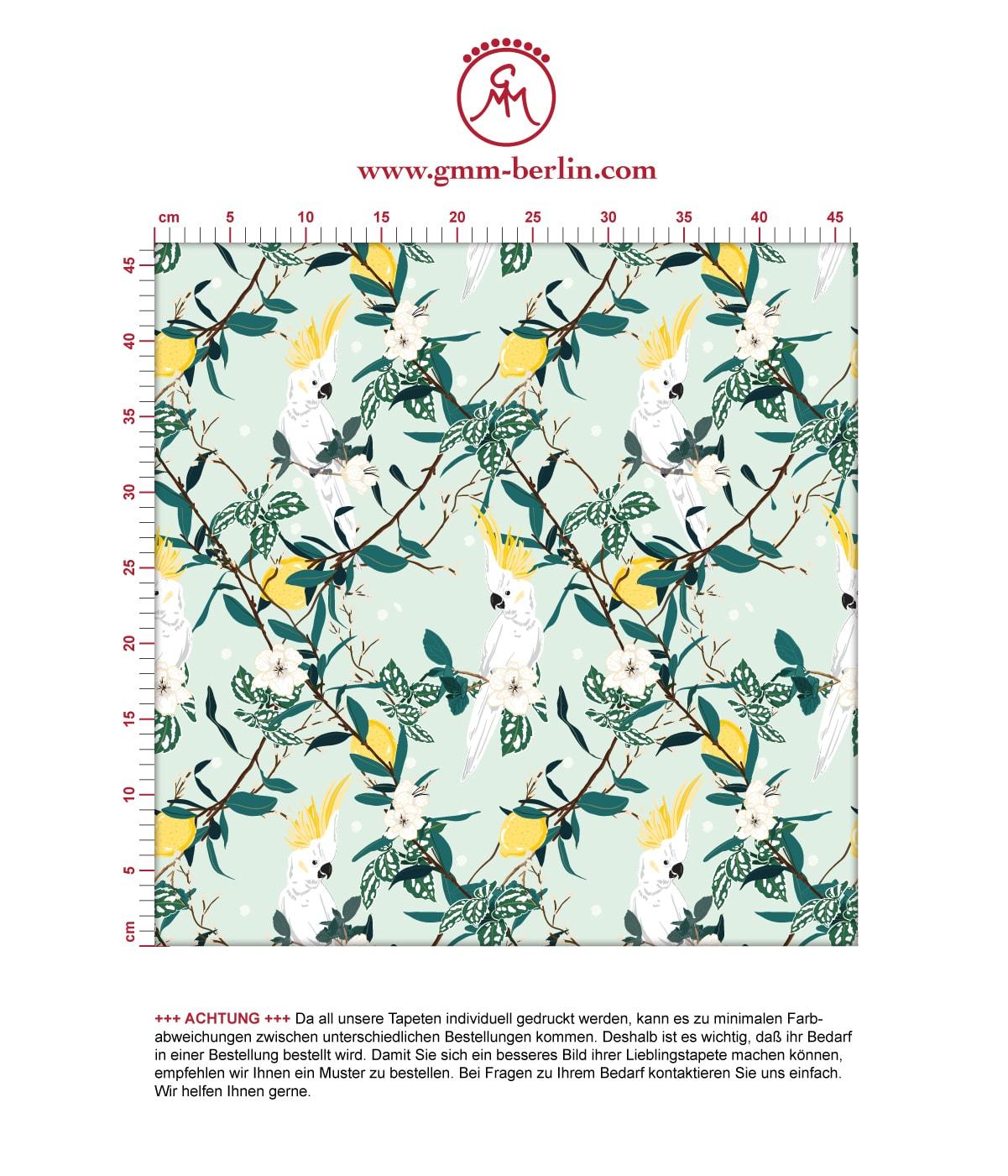 """""""Tropical Summer"""" – exotische Tapete mit Zitronen & Kakadus, hell grüne Vlies Tapete Tiere, schöne Blumentapete für Küche  2"""