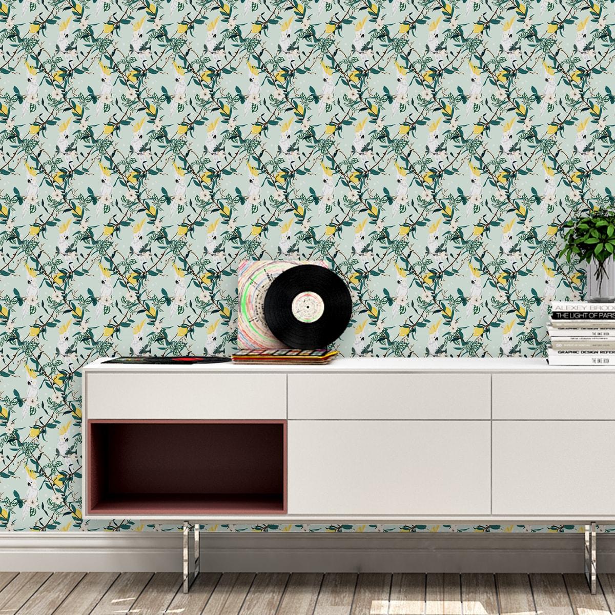 grün: Multicolor Swing Querstreifentapete passend zu Ikea aus der Tapeten Dasign Familie: 00008 als Naturaltouch Luxus Vliestapete oder Basic Vliestapete