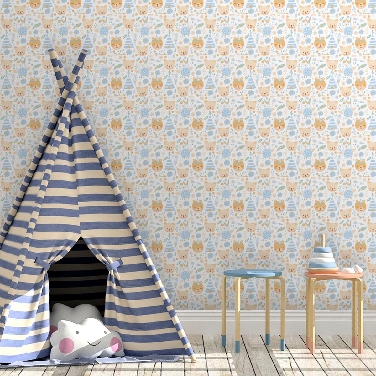 """Hellblaue Abenteuer Kinderzimmer Tapete """"Wildwest Tiere"""", hellblaue Vlies Kindertapete für Babyzimmer"""