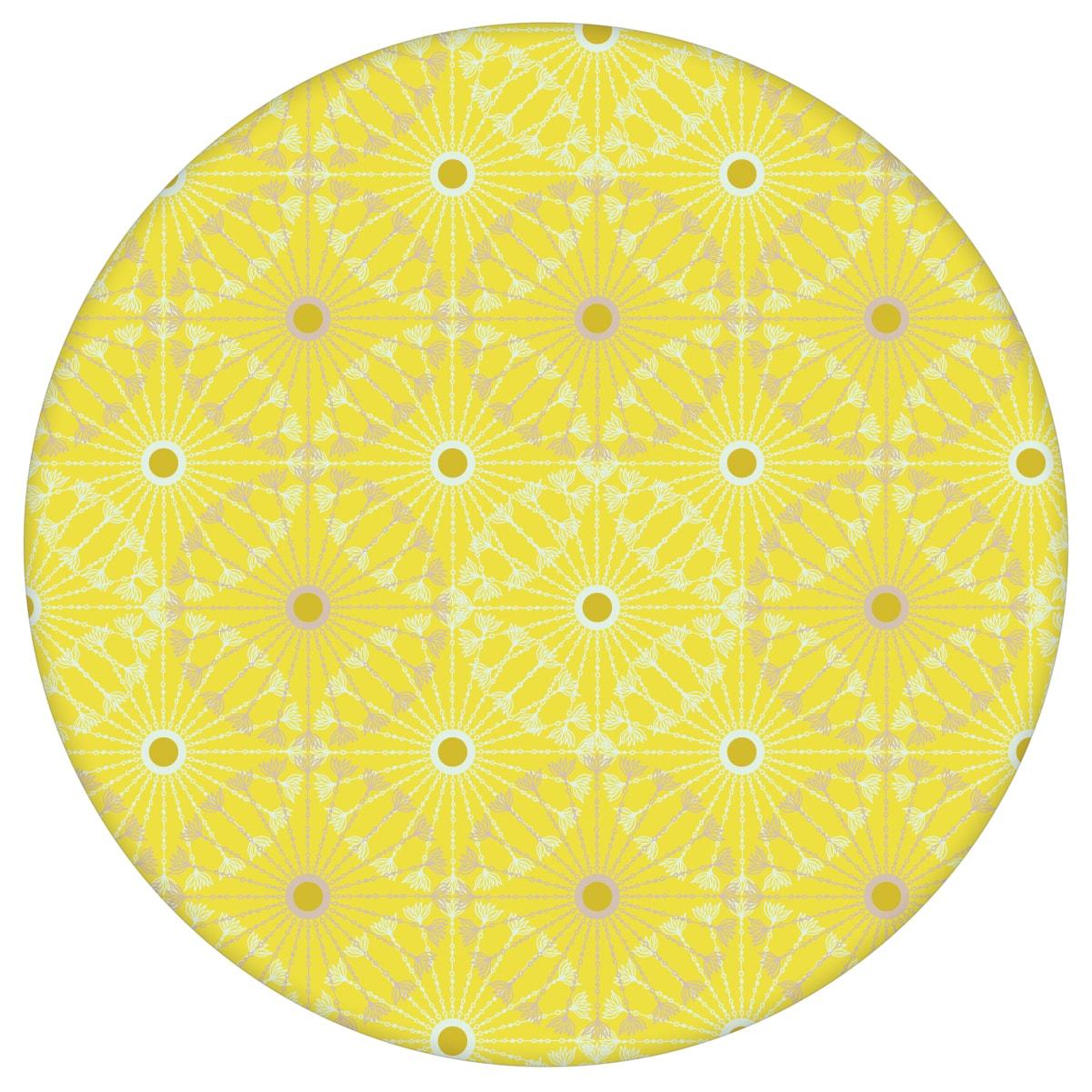 """Sonnige Tapete """"Charming Circles"""" mit Pfeil Kreisen, gelbe Vlies-Tapete Ornamenttapete für Schlafzimmeraus dem GMM-BERLIN.com Sortiment: gelbe Tapete zur Raumgestaltung: #00168 #gelb #gelbe Tapeten #grafisch #Grafische Tapete #kreise #ornamente #Pfeile #schlafzimmer für individuelles Interiordesign"""