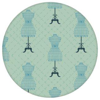 """Designer Tapete """"Fashionista"""" mit Kleiderpuppen Schnittmuster, mint grüne Vlies Tapete Ornamente Wandgestaltung für Flur, Büro"""