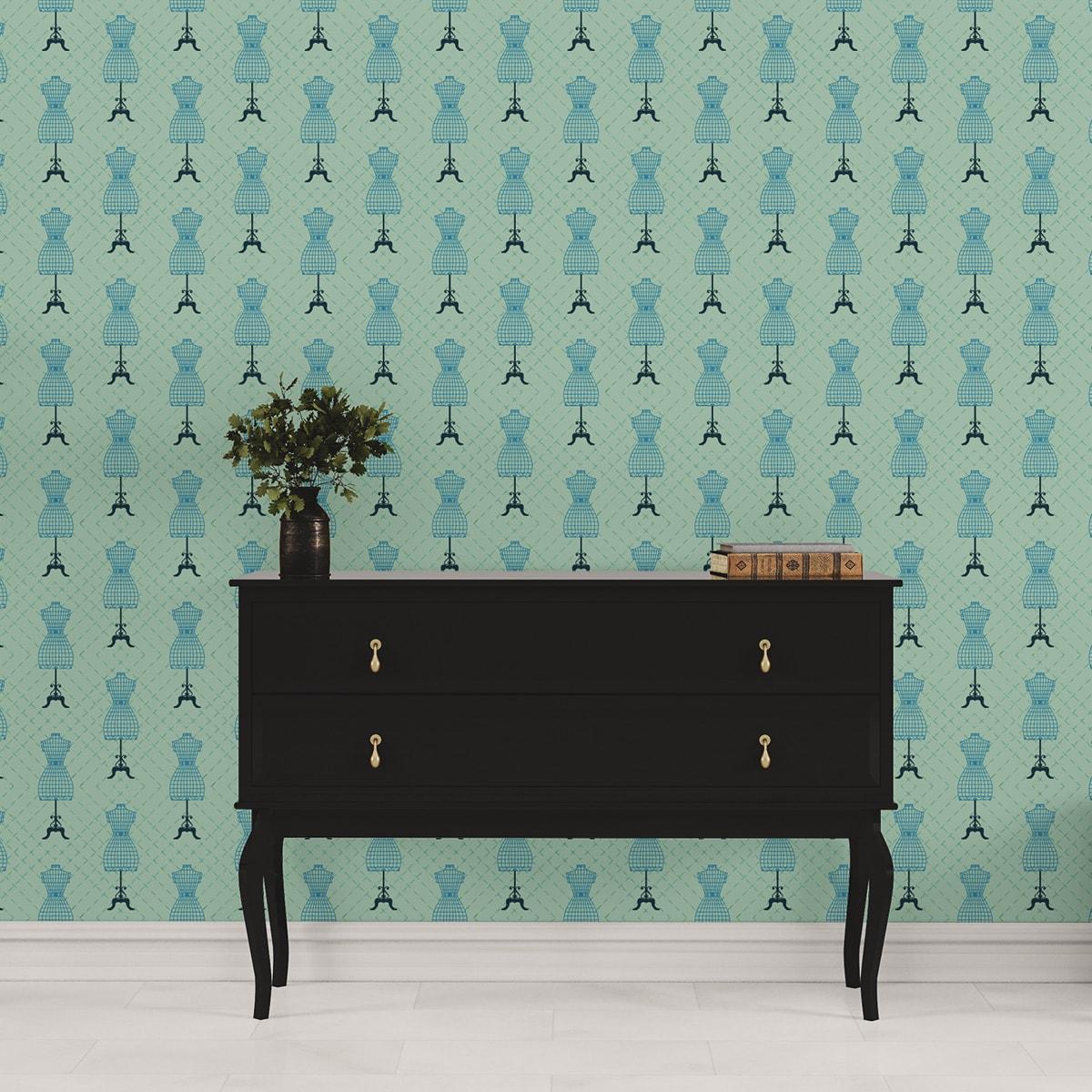"""Tapete für Büroräume grün: Designer Tapete """"Fashionista"""" mit Kleiderpuppen Schnittmuster, mint grüne Vlies Tapete Ornamente Wandgestaltung für Flur, Büro"""