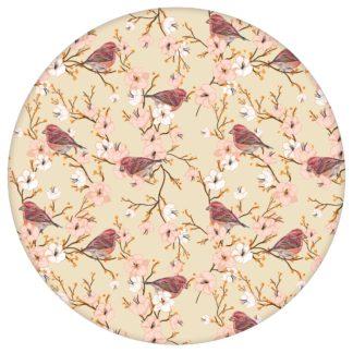 """Vogel Tapete """"Kirschblüten Spatz"""", rosa beige luftige Blüten Vlies-Tapete für Schlafzimmer aus den Tapeten Neuheiten Blumentapeten und Borten als Naturaltouch Luxus Vliestapete oder Basic Vliestapete"""
