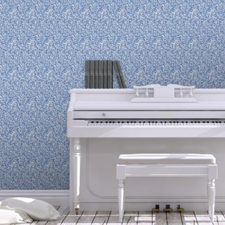 """Retro Jugendstil Tapete """"Wilde Weiden"""" nach William Morris, blaue Vlies-Tapete Blumentapete für Wohnzimmer"""