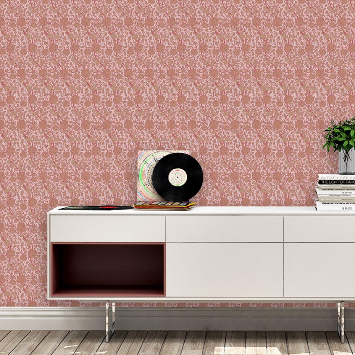Tapete Wohnzimmer pink: Rosa Jugendstil Tapete