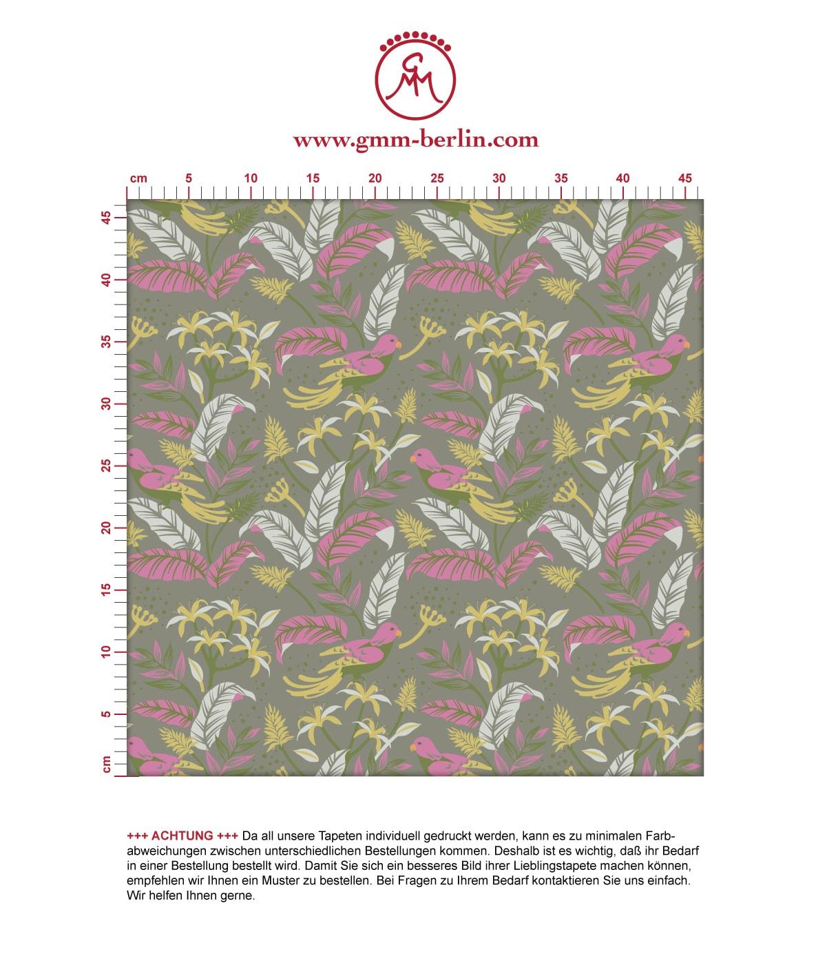 """""""Wild Birds"""" Tropische Tapete mit Dschungel Vögeln, olive Vlies-Tapete Blumen Tiere, schöne Wanddeko für Schlafzimmer 2"""