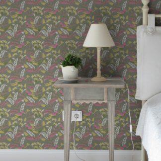 """""""Wild Birds"""" Tropische Tapete mit Dschungel Vögeln, olive Vlies-Tapete Blumen Tiere, schöne Wanddeko für Schlafzimmer"""