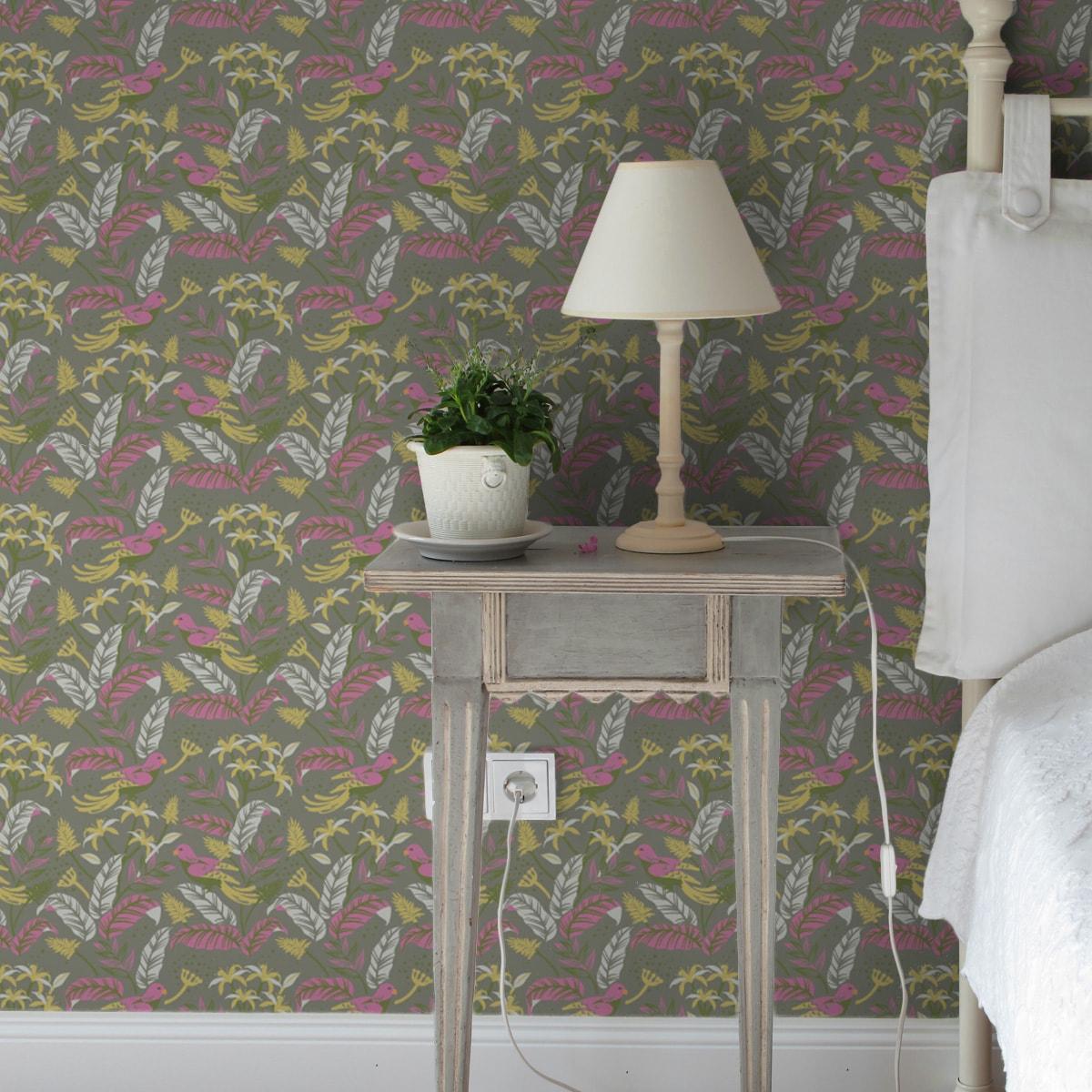 """""""Wild Birds"""" Tropische Tapete mit Dschungel Vögeln, olive Vlies-Tapete Blumen Tiere, schöne Wanddeko für Schlafzimmer 3"""