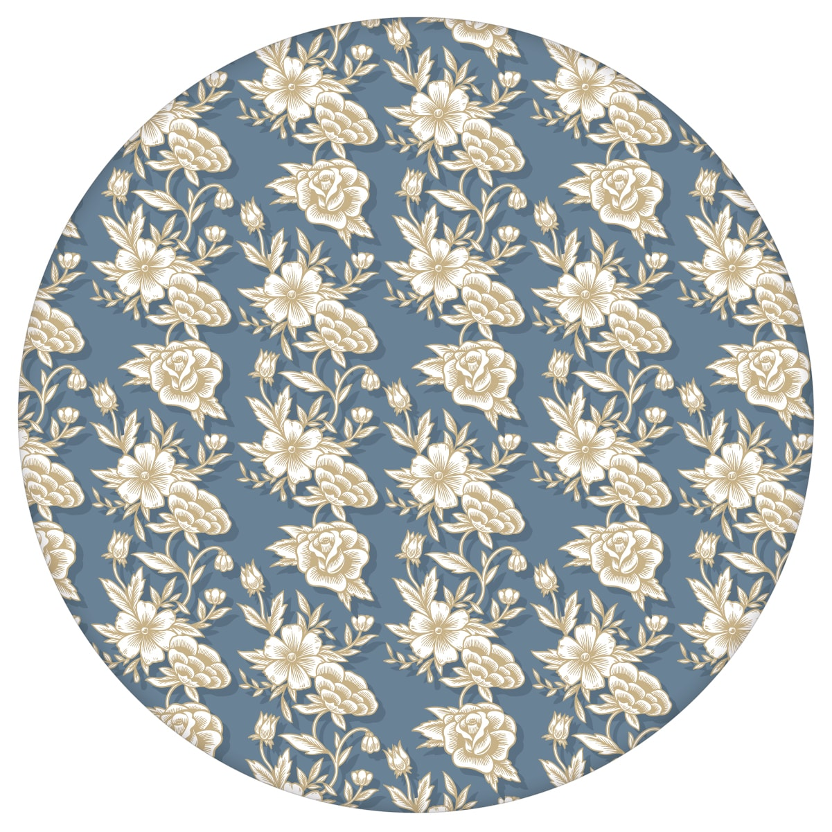 "Edle Blümchen Tapete ""Les fleurs du chateau"", blau beige Vlies Blumentapete, Wohnakzent, Wanddeko für Flur, Büro  3"