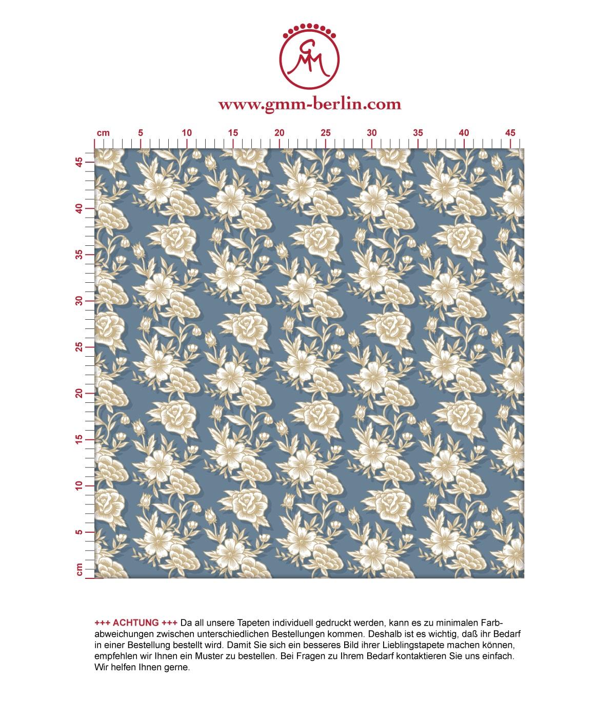 """Edle Blümchen Tapete """"Les fleurs du chateau"""", blau beige Vlies Blumentapete, Wohnakzent, Wanddeko für Flur, Büro. Aus dem GMM-BERLIN.com Sortiment: Schöne Tapeten in der Farbe: mittelblau,"""