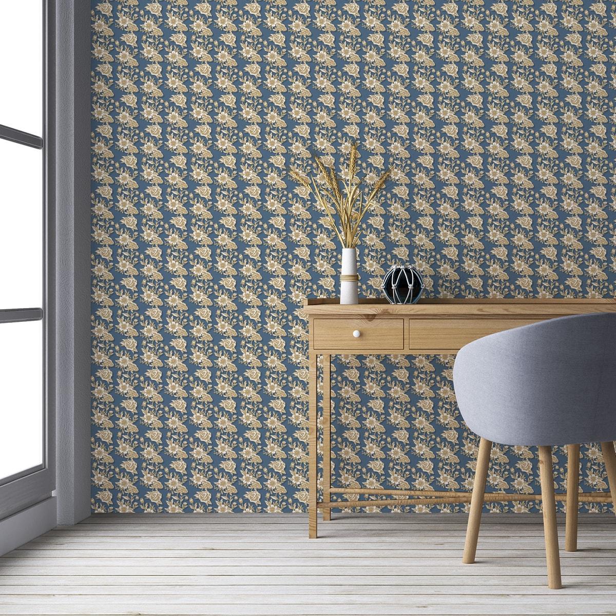 "Edle Blümchen Tapete ""Les fleurs du chateau"", blau beige Vlies Blumentapete, Wohnakzent, Wanddeko für Flur, Büro"