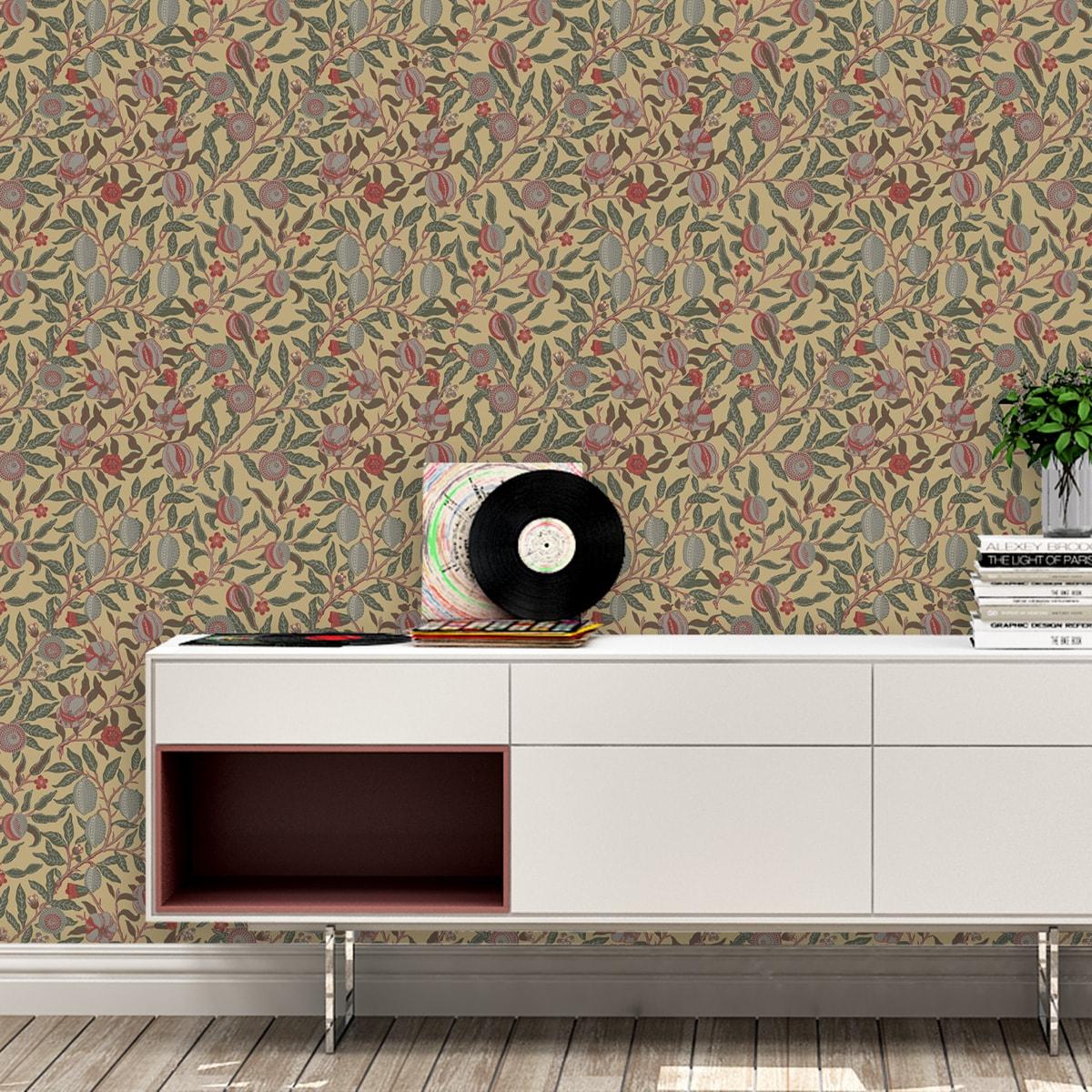 """VintageJugendstil Tapete """"Granatapfel Baum"""" nach William Morris, beige Vlies Tapete Blumen Natur, elegante Wanddeko für Flur, Büro"""