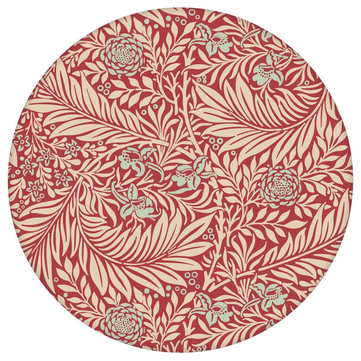 """Feine Jugendstil Tapete """"Délice florale"""" nach William Morris, rote Tapete, großer Rapport für Schlafzimmer"""