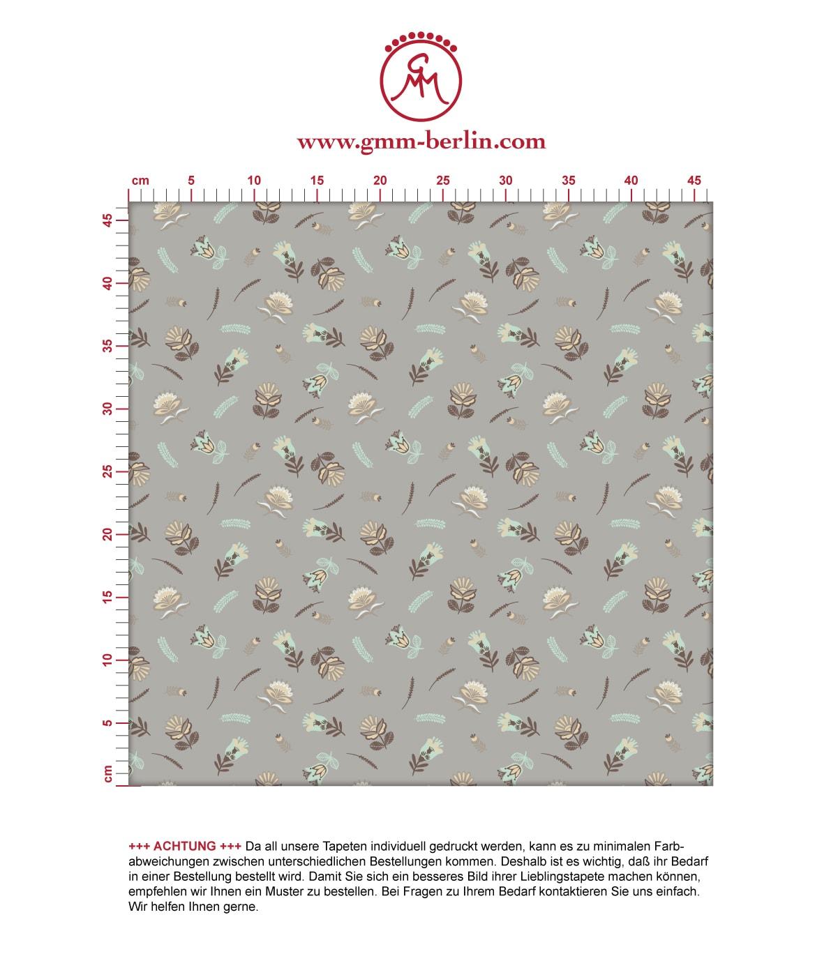 Braune Streublümchen Tapete mit kleinen Blüten, Vlies Tapete Blumen, folklore Blumentapete für Flur, Büro. Aus dem GMM-BERLIN.com Sortiment: Schöne Tapeten in der Farbe: braun