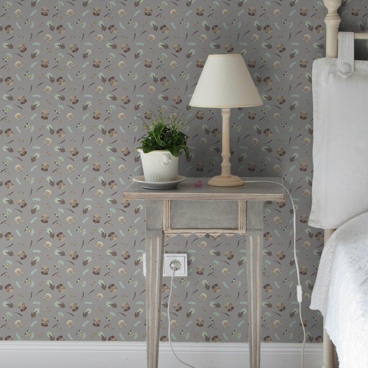 Tapete für Büroräume braun: Braune Streublümchen Tapete mit kleinen Blüten, Vlies Tapete Blumen, folklore Blumentapete für Flur, Büro