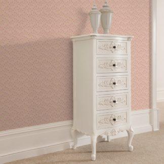 """Tapete Wohnzimmer pink: Altrosa Tapete """"Kohana"""" mit kleinen Blüten, Vlies Tapete Blumen, delikate, leichte Wanddeko für Wohnzimmer"""