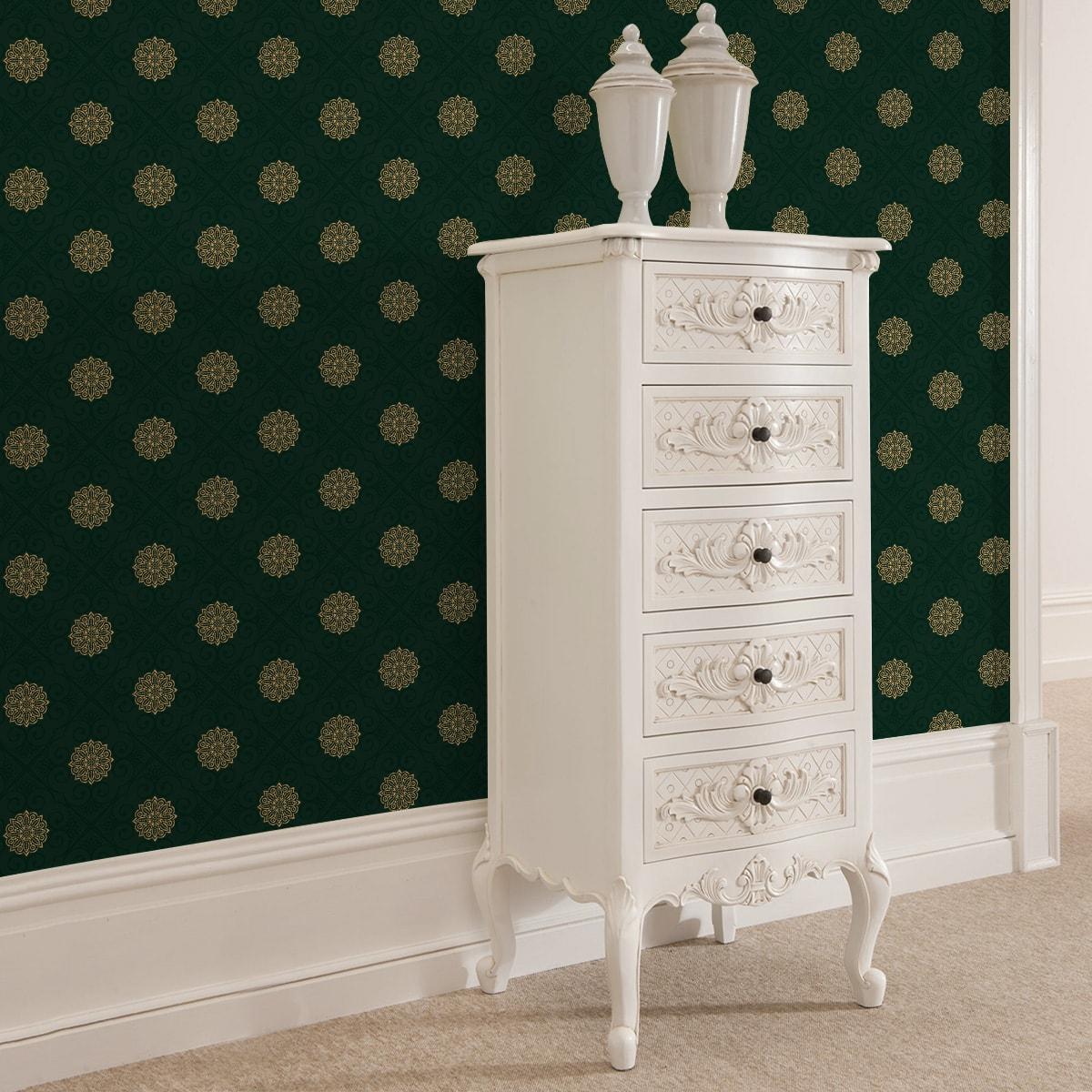 "Dunkel grüne oriental Tapete ""Mandarin"", exklusive Vlies Tapete Ornamenttapete für Flur, Büro"