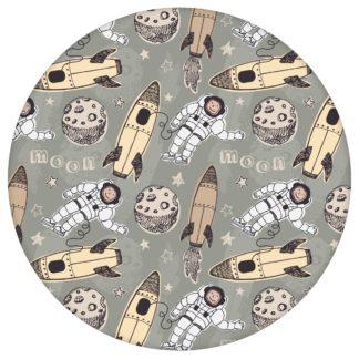 """Coole Kinderzimmer Tapete """"Rocket Moon"""", beige Vlies Weltraum Kindertapete für Babyzimmeraus dem GMM-BERLIN.com Sortiment: beige Tapete zur Raumgestaltung: #00136 #Babyzimmer #beige #beige – cremefarbene Tapeten #kinder #Kindertapete #Mond #Rakete #Space #Weltraum für individuelles Interiordesign"""
