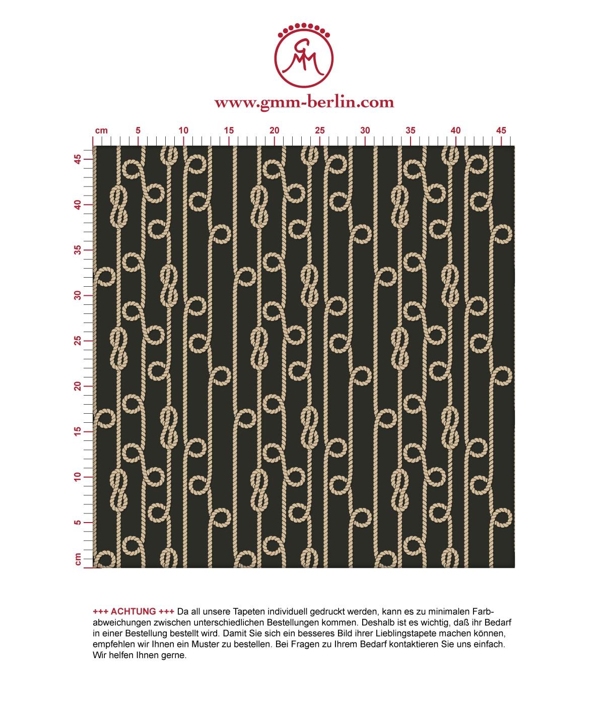 """Elegante Segler Tapete """"Segelknoten"""", maritime, grafische, schwarze Vliestapete für Flur, Büro. Aus dem GMM-BERLIN.com Sortiment: Schöne Tapeten in der Farbe: schwarz"""