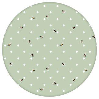 """Grüne Tapete """"Polka Bee"""" mit Bienen & Punkten, Vlies Tapete Grafik Tiere, schöne Wandtapete für Küche"""