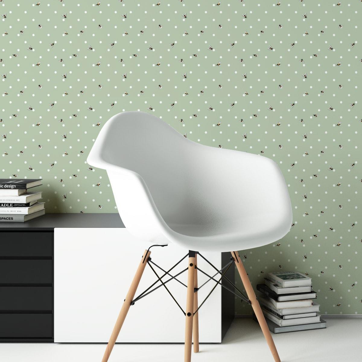 """Küchentapete grün: Grüne Tapete """"Polka Bee"""" mit Bienen & Punkten, Vlies Tapete Grafik Tiere, schöne Wandtapete für Küche"""