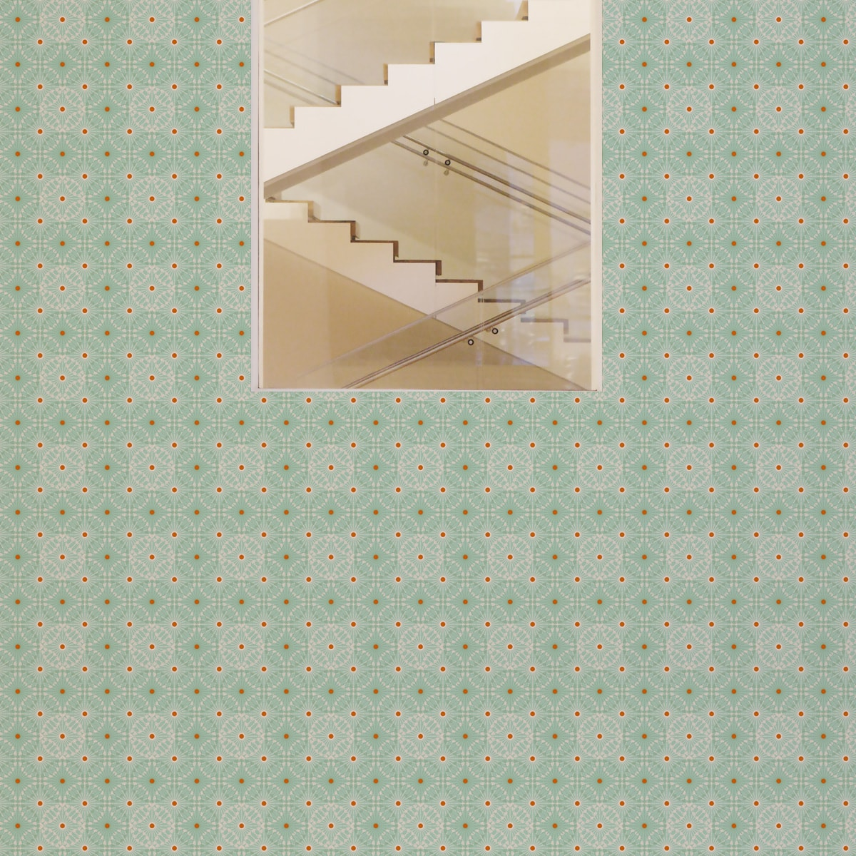 """Küchentapete grün: Mint grüne Tapete """"Charming Circles"""" mit Pfeil Kreisen, Vliestapete Ornamenttapete für Küche"""