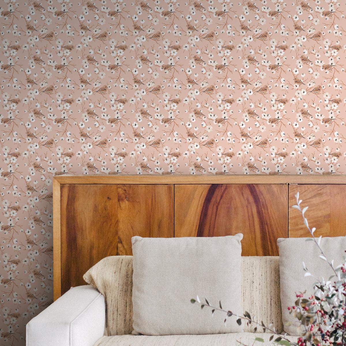 """Tapete für Büroräume creme: Frühlings Blumentapete """"Kirschblüten Spatz"""" mit Vögeln, puder beige Vlies Tapete, schön für Flur, Büro"""