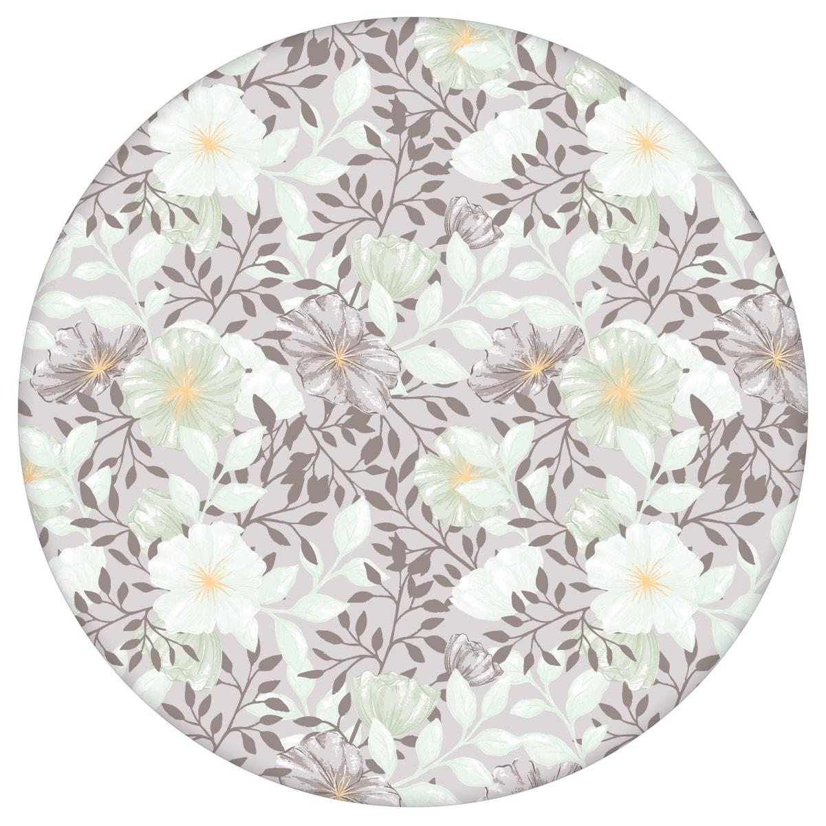 """Edle Tapete """"Hibiskus Garten"""" mit üppigen Blüten, mint braune Vlies Tapete Blumen, schöne Wanddeko für Wohnzimmer aus den Tapeten Neuheiten Blumentapeten und Borten als Naturaltouch Luxus Vliestapete oder Basic Vliestapete"""