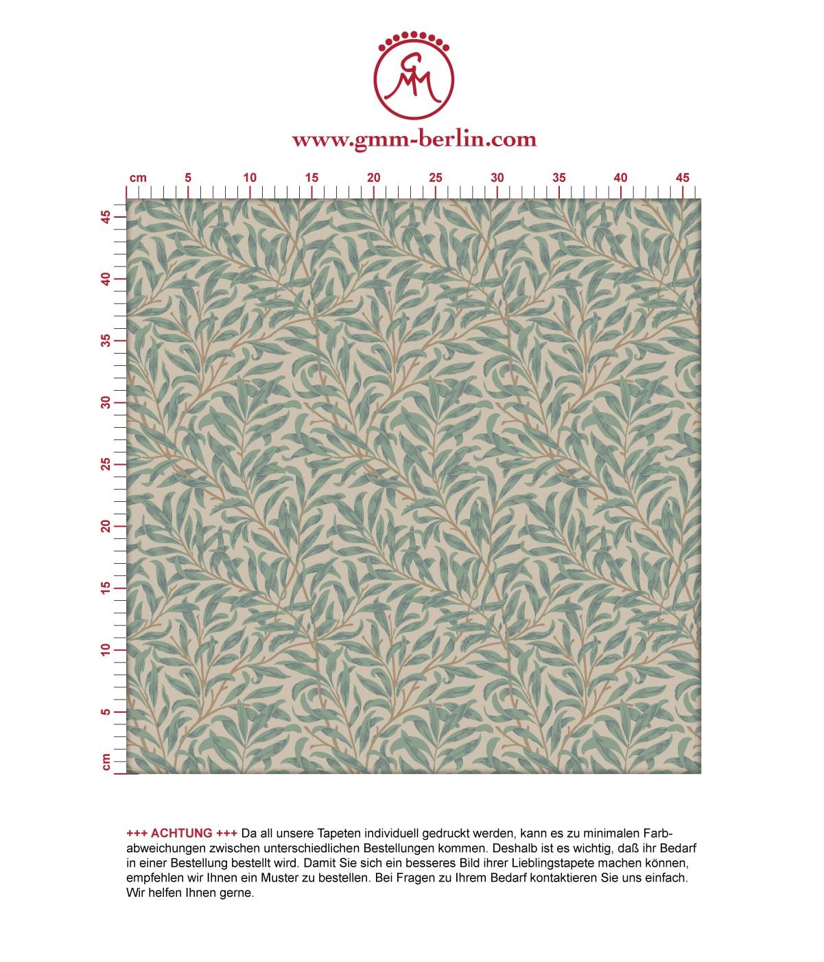"""Klassische Jugendstil Tapete """"Wilde Weiden"""" nach William Morris, beige Vlies Tapete Blumen Natur für Küche  2"""