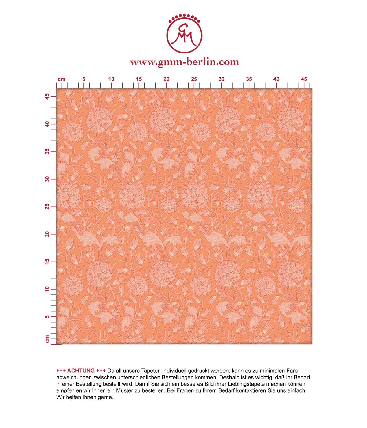 """Retro Jugendstil Tapete """"Tulpen und Narzissen"""" nach William Morris, orange Vlies Tapete Blumen, schöne Blumentapete für Flur, Büro. Aus dem GMM-BERLIN.com Sortiment: Schöne Tapeten in der Farbe: Orange"""