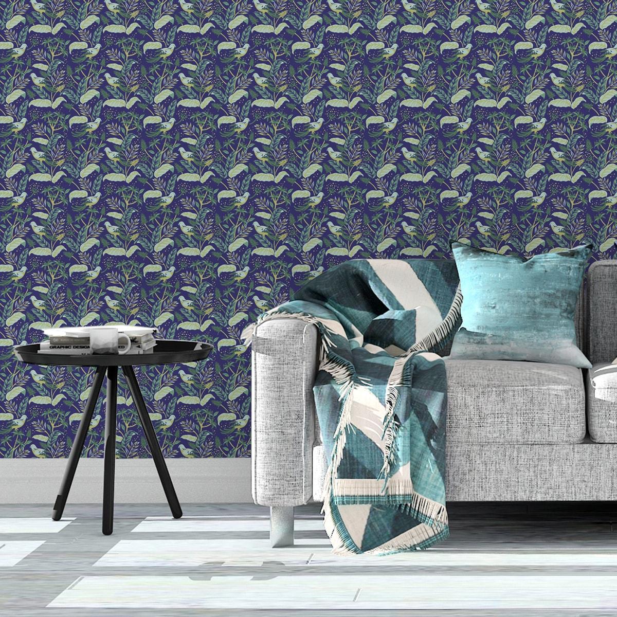Schlafzimmer tapezieren in mittelblau: Moderne Little Square Tapete grün angepasst - Exklusive Tapeten für schönes Wohnen aus der Serie Grafische Tapeten für Wohn- und Schlafzimmer der Gräflich Münster'schen Manufaktur