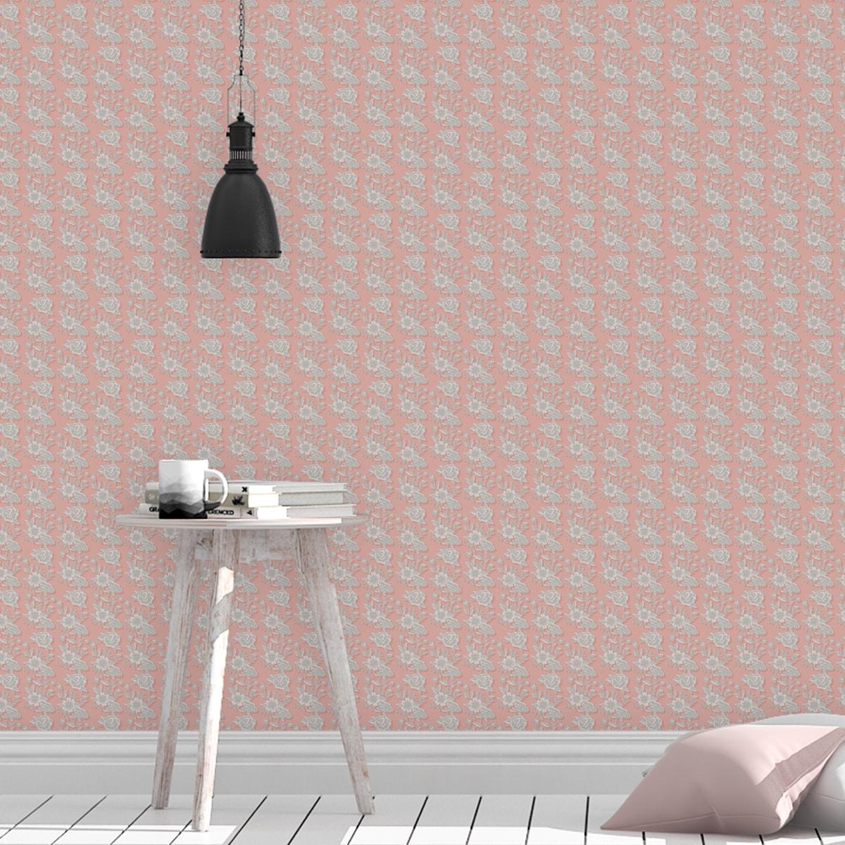 Tapete Wohnzimmer pink: Schöne Blümchen Tapete