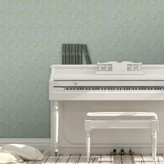 """Tapete Wohnzimmer violett: Lila grüne Jugendstil Tapete """"Délice florale"""" nach William Morris, Vlies Tapete Blumen Ornament, kleiner Rapport für Wohnzimmer"""