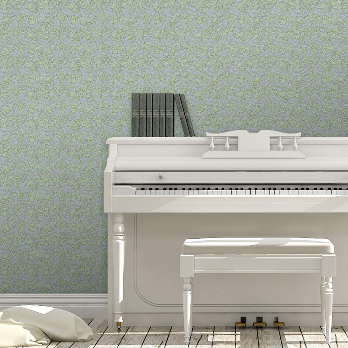 Tapete Wohnzimmer violett: Lila grüne Jugendstil Tapete